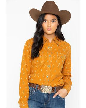Wrangler Women's Aztec Diamond Print Snap Long Sleeve Western Top, Dark Yellow, hi-res