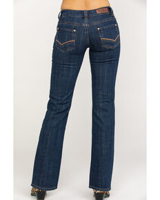 Rock & Roll Cowgirl Women's Check Mark Embroidered Riding Boot Cut Jeans , Dark Blue, hi-res