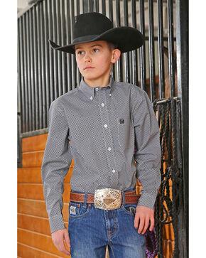 Cinch Boys' Geo Print Long Sleeve Western Shirt , Black, hi-res