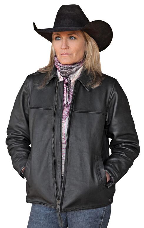 STS Ranchwear Women's Rifleman Black Leather Jacket, Black, hi-res