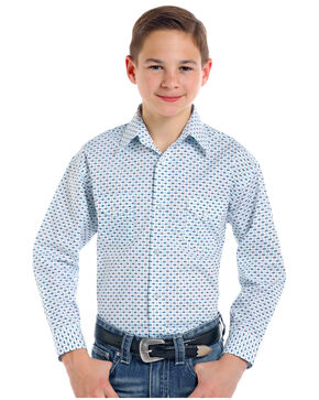 Rough Stock by Panhandle Boys' Comal Vintage Print Long Sleeve Snap Shirt, White, hi-res