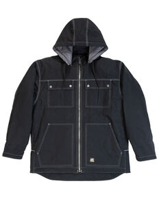 Berne Men's Modern Zip Off Hooded Work Chore Coat - Big , Black, hi-res