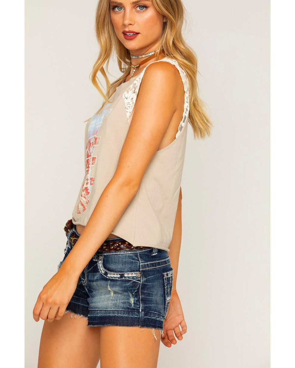 Shyanne Women's Sleeveless Lace Americana Raglan Top, Grey, hi-res