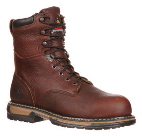 Rocky Men's IronClad Insulated Waterproof Work Boots, Brown, hi-res