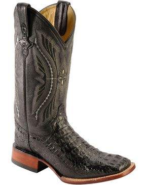 Ferrini Caimain Tail Cowboy Boots - Wide Square Toe, Black, hi-res