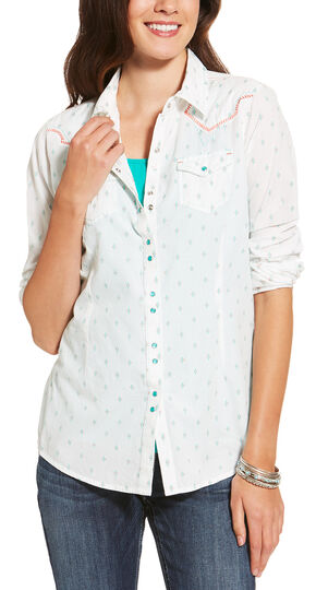 Ariat Women's White Grand Snap Shirt , White, hi-res