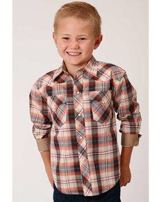 West Made Boys' Rope Plaid Long Sleeve Western Shirt , Mustard, hi-res