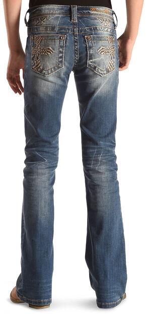 Miss Me Girls' Indigo Cross Embroidered Jeans - Boot Cut , Indigo, hi-res