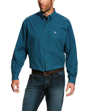 Ariat Men's Flanagan Small Plaid Long Sleeve Western Shirt - Big & Tall , Navy, hi-res