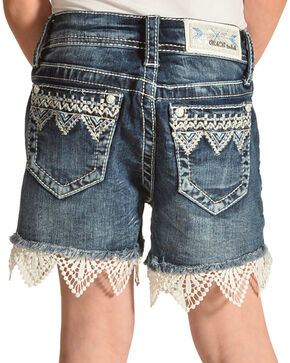 Grace in LA Girls' Applique Trimmed Shorts , Blue, hi-res