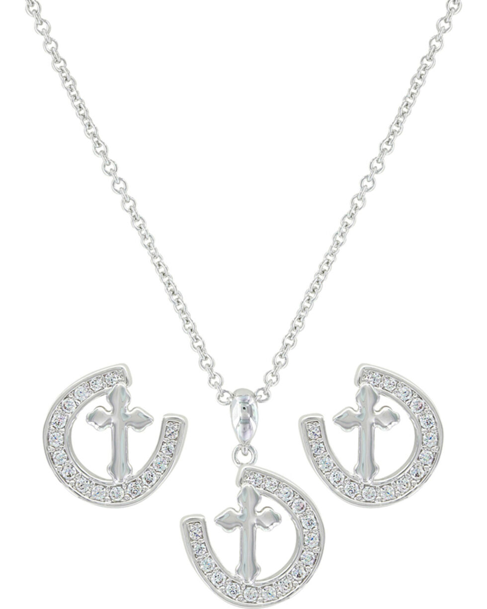 Montana Silversmiths Women's Walking The Path Of Faith Horseshoe Jewelry Set , Silver, hi-res