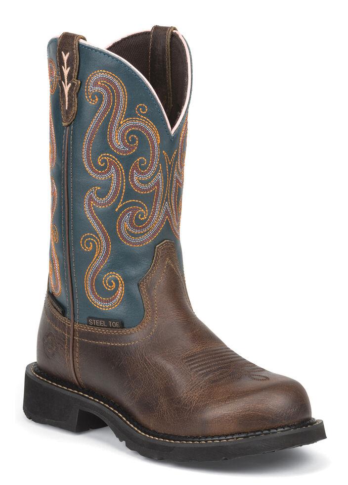 Justin Gypsy Women's Tasha EH Waterproof Work Boots - Steel Toe, Dark Brown, hi-res
