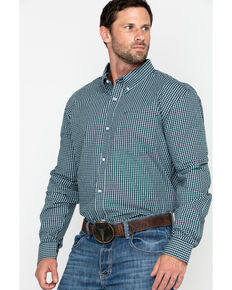 Cody James Core Men's Muldoon Small Check Plaid Long Sleeve Western Shirt - Tall , Navy, hi-res