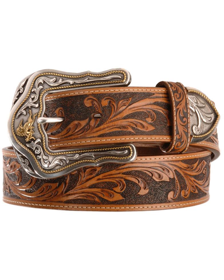 Tony Lama Western Ride Leather Belt - Reg & Big, Tan, hi-res