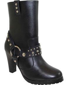 """Ad Tec Women's 10"""" Harness Biker Boots , Black, hi-res"""