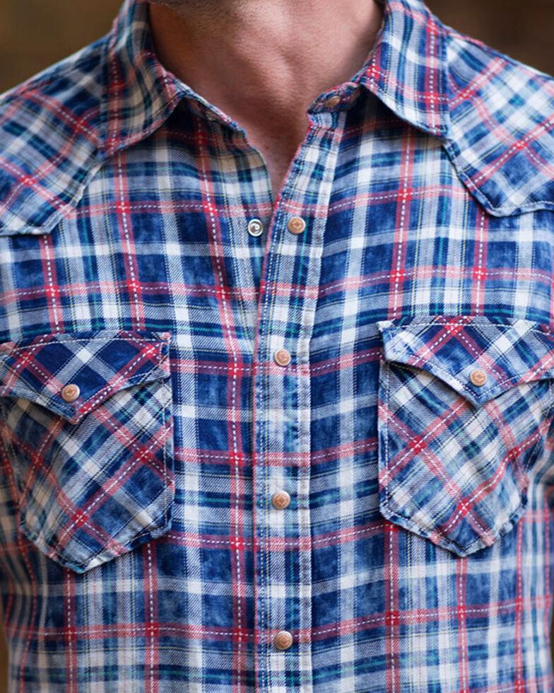Ryan Michael Men's Red Stripe Plaid Short Sleeve Western Shirt , Indigo, hi-res