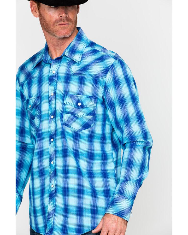 Rock & Roll Denim Men's Crinkle Washed Yarn Dye Plaid Long Sleeve Western Shirt , Blue, hi-res