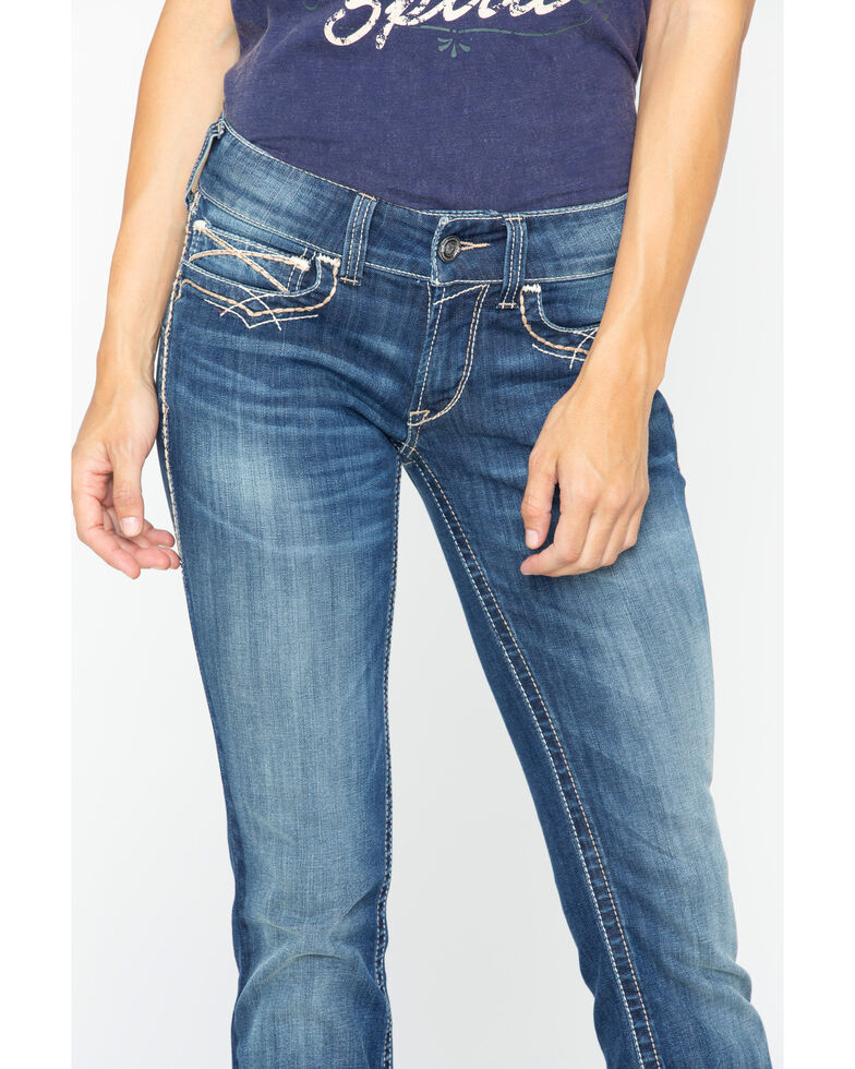 Ariat Women's R.E.A.L Mid Rise Entwined Boot Cut Jeans, Blue, hi-res