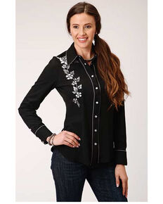 Old West Women's Black Floral Horseshoe Long Sleeve Western Shirt  , Black, hi-res
