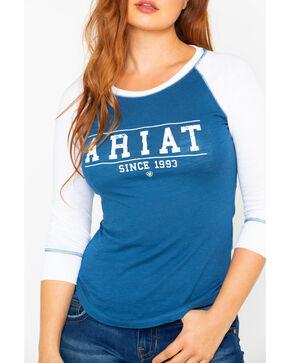 Ariat Women's Logo Baseball T-Shirt, Navy, hi-res