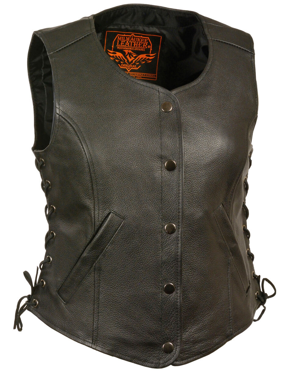 Milwaukee Leather Women's Side Lace Snap Front Vest, Black, hi-res