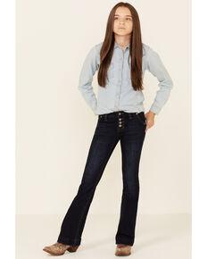 Rock & Roll Denim Girls' Dark Wash Stretch Button Trouser Jeans , Dark Blue, hi-res