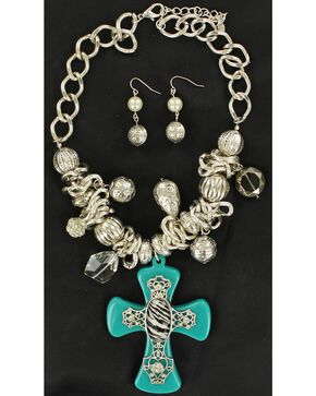 Blazin Roxx Turquoise & Zebra Cross Necklace & Earrings Set, Turquoise, hi-res