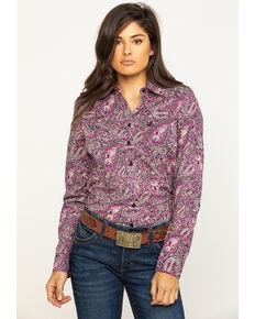 Cinch Women's Purple Paisley Button Long Sleeve Western Shirt, Purple, hi-res