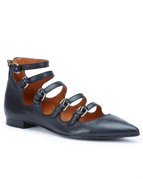 Frye Women's Black Sienna Buckle Ballet Flats , Black, hi-res
