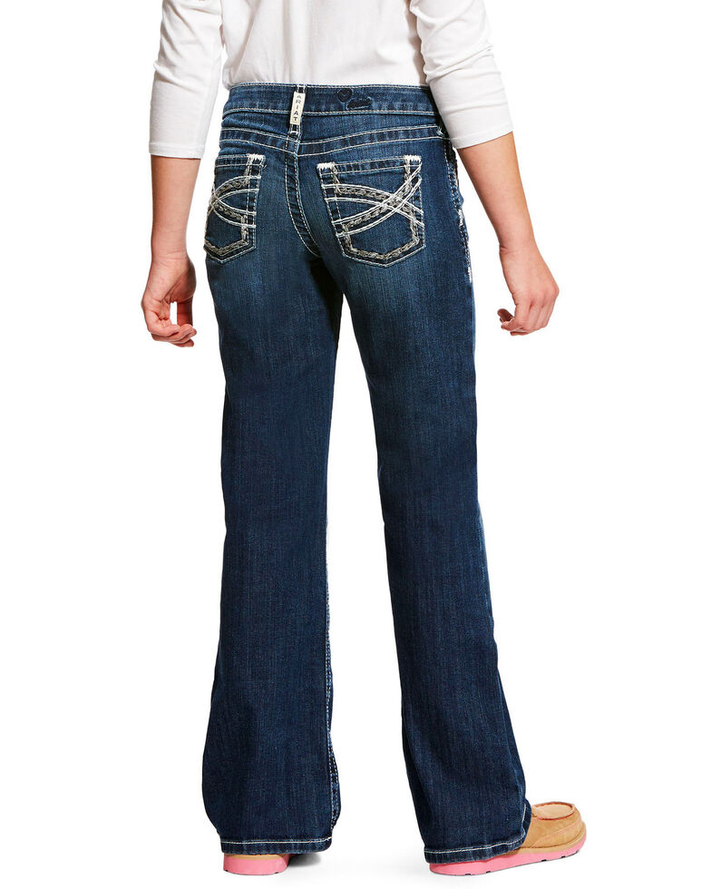 Ariat Girls' Entwined Dresden REAL Bootcut Jeans , Indigo, hi-res