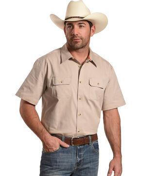 American Worker Men's Solid Short Sleeve Button Down Work Shirt, Beige/khaki, hi-res