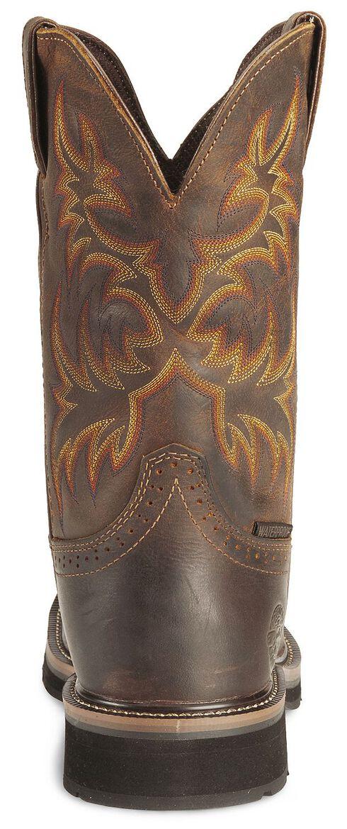 Justin Stampede Tan Waterproof Work Boots - Soft Square Toe, Tan, hi-res