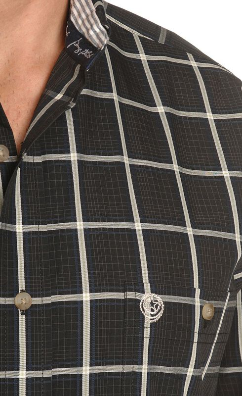 Wrangler George Strait Large Plaid Shirt, Black, hi-res