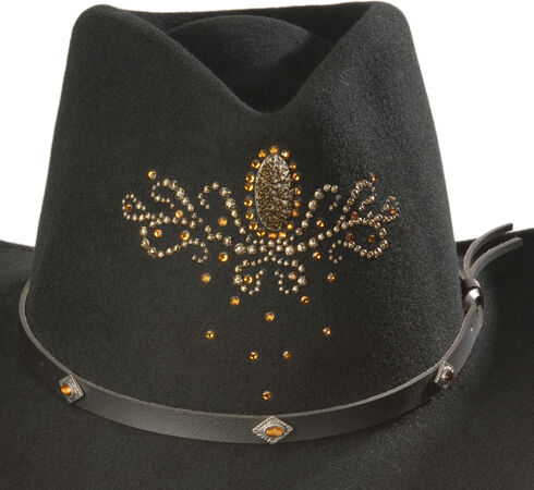 Destiny Rhinestone Embellished Crushable Wool Cowgirl Hat, Black, hi-res