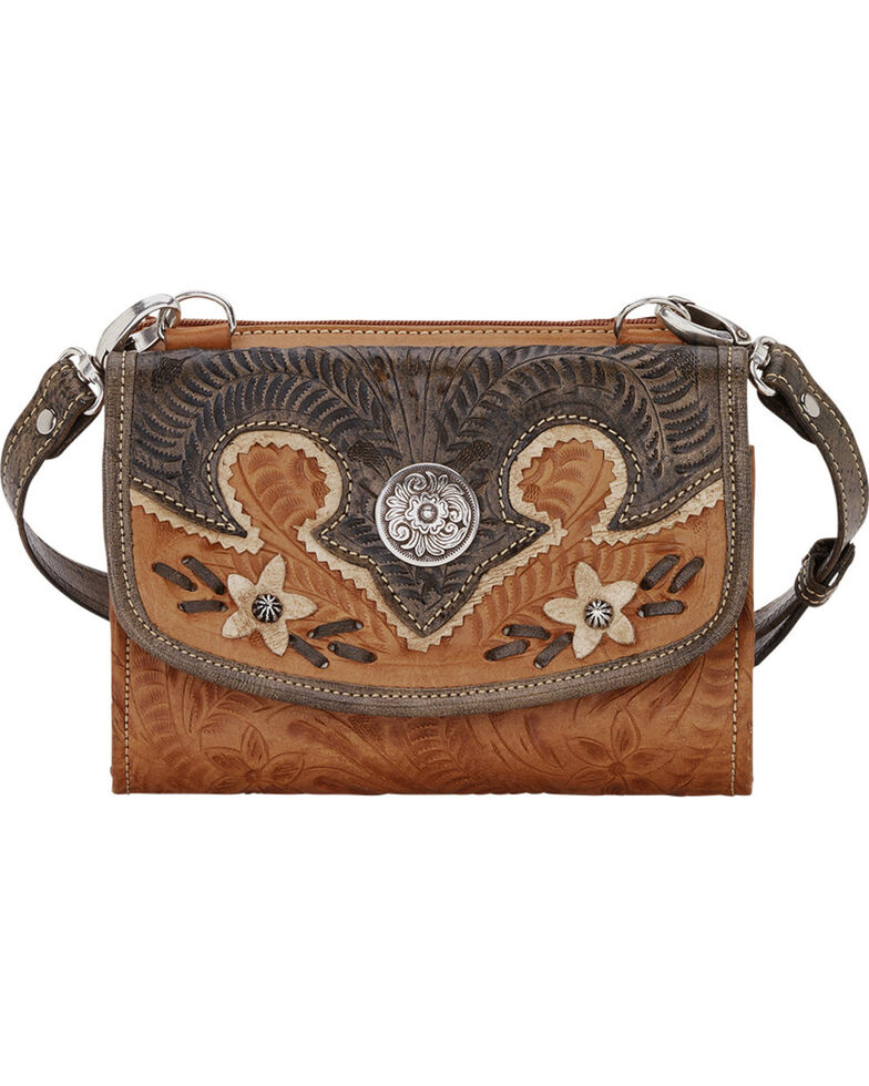 American West Tan Desert Wildflower Small Crossbody Bag/Wallet, Tan, hi-res