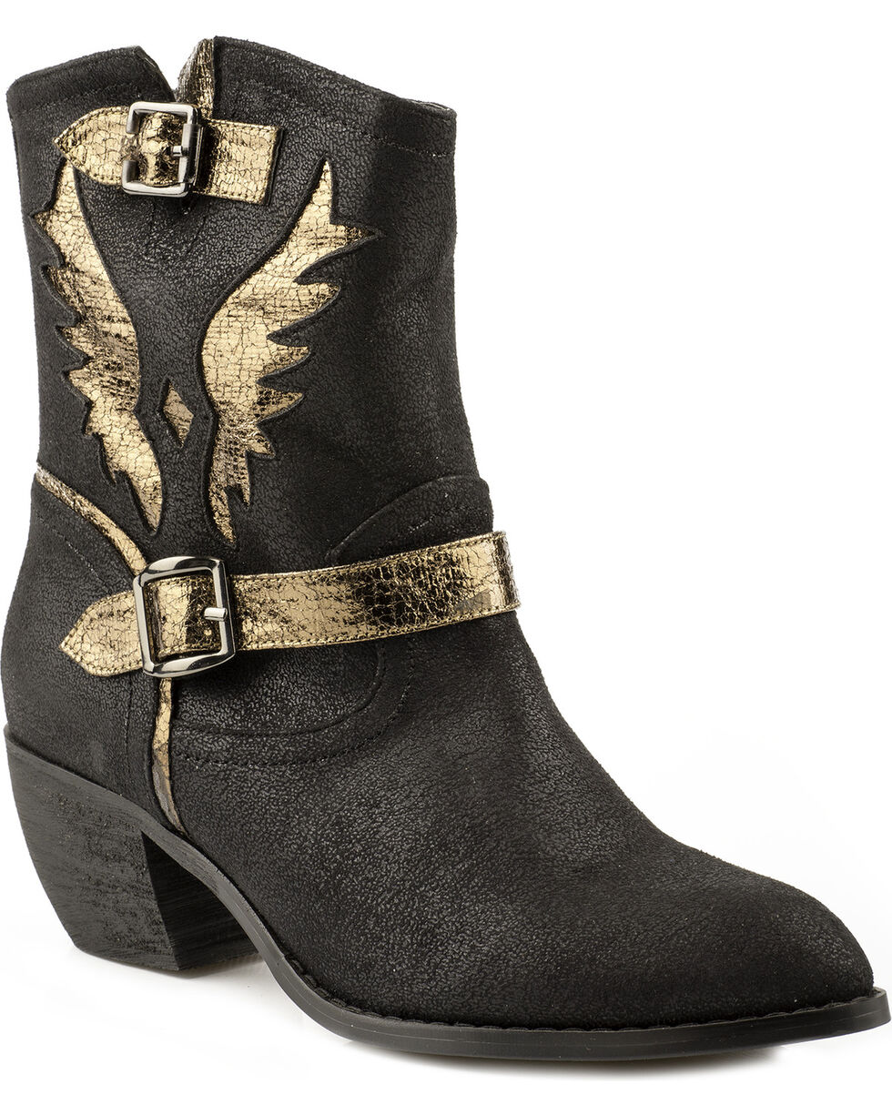 Roper Benatar Metallic Eagle Ankle Short Cowgirl Boots - Pointed Toe, Black, hi-res