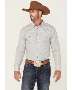 Moonshine Spirit Men's Route 95 Mini Floral Print Long Sleeve Snap Western Shirt , White, hi-res