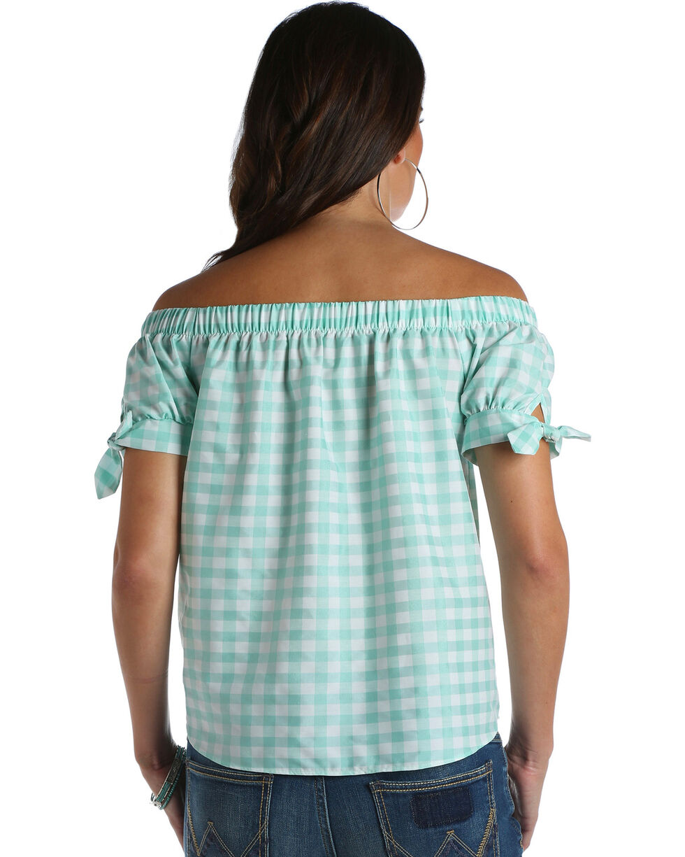 Wrangler Women's Mint Gingham Off The Shoulder Top , Green, hi-res
