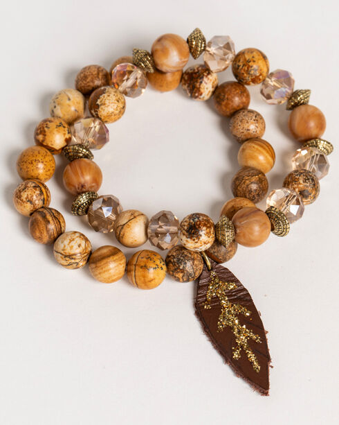 Shyanne Women's Adilene Brown Beaded Feather Charm Stretch Bracelets, Brown, hi-res