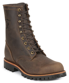 "Chippewa Lug Sole 8"" Lace-Up Work Boots - Steel Toe, Chocolate, hi-res"