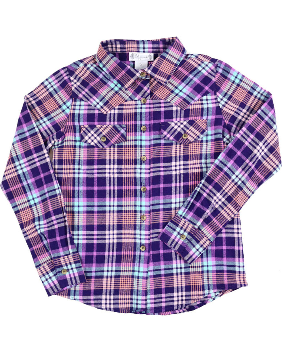 Shyanne Girls' Plaid Button Down Flannel, , hi-res