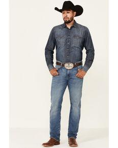 Wrangler Retro Men's Holstein Medium Wash Stretch Slim Straight Jeans , Blue, hi-res
