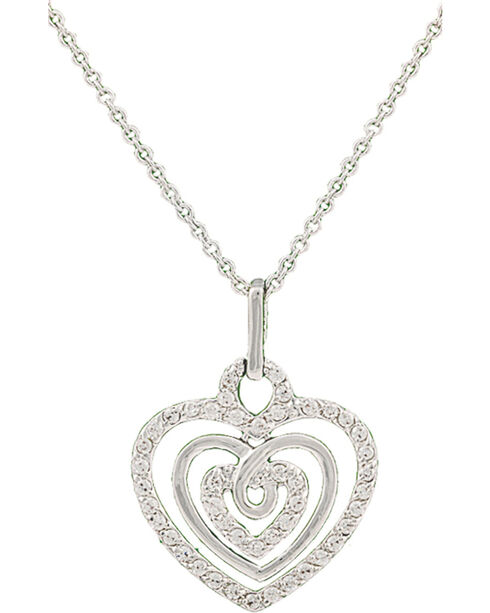 Montana Silversmiths Triple the Love Heart Necklace, Silver, hi-res