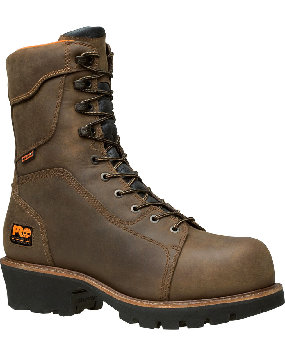 """Timberland Men's Brown PRO Rip Saw 9"""" Logger Boots - Composite Toe , Brown, hi-res"""