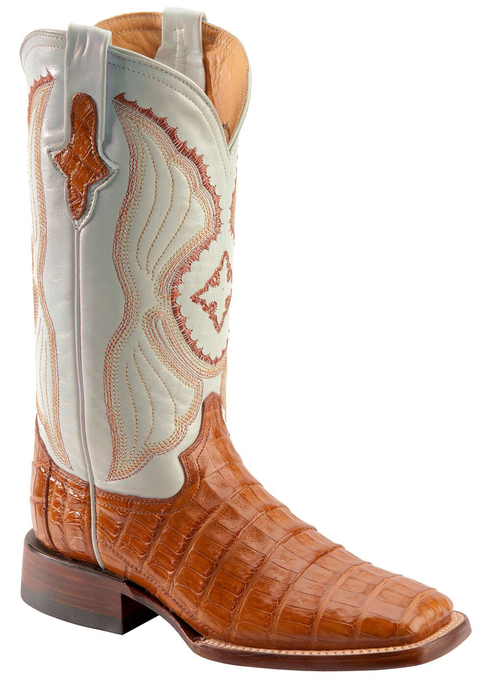 Ferrini Cognac Caiman Belly Cowgirl Boots - Wide Square Toe, Cognac, hi-res
