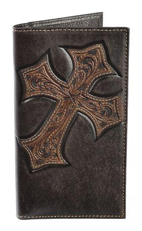 Nocona Tooled Cross Overlay Rodeo Wallet, Brown, hi-res