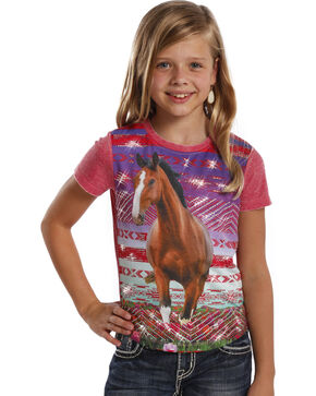Rock & Roll Cowgirl Girls' Rhinestone Horse Tee, Red, hi-res