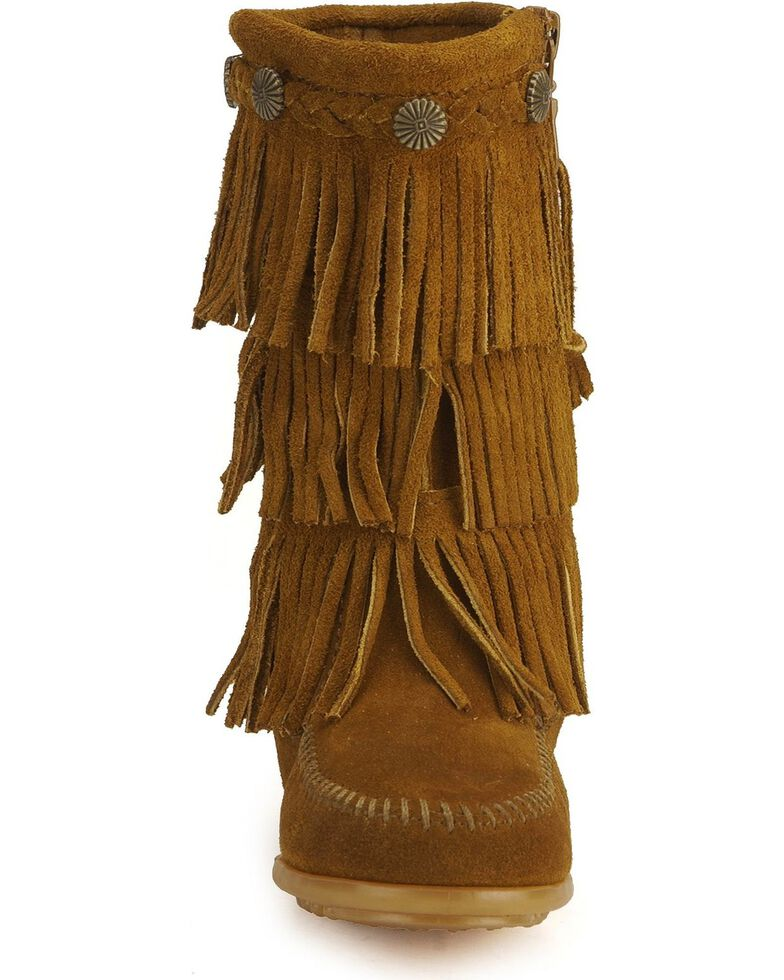 Minnetonka Girls' Fringed Suede Boots, Brown, hi-res