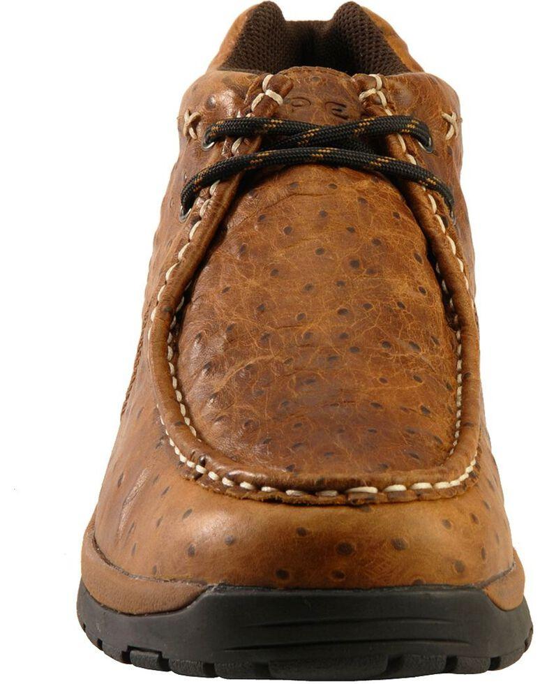 Roper Men's Ostrich Print Rugged Sole Shoes, Brown, hi-res