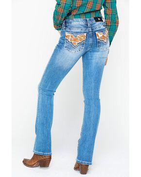 Miss Me Women's Chloe Cowhide Pocket Boot Jeans , Blue, hi-res